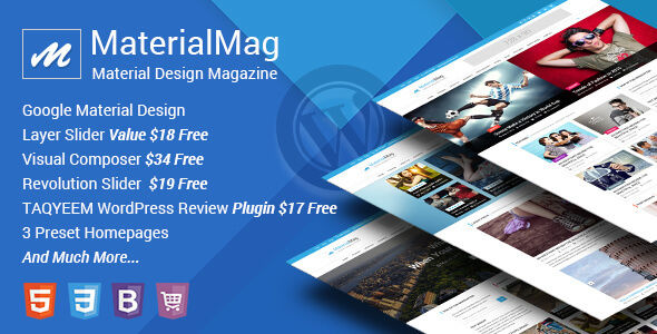 MaterialMag by CrunchPress is a news magazine WordPress theme which features support for RTL languages, Mega Menu, fully responsive layouts, Google Fonts support, Revolution Slider, WooCommerce integration, clean design, Bootstrap framework utilization and magazine style layouts.