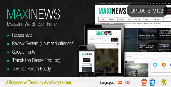 MaxiNews by Themes-Dojo is a news magazine WordPress theme which features support for RTL languages, fully responsive layouts, search engine optimization, Google Fonts support, clean design, can be used for your portfolio, magazine style layouts, bold design elements and flat design aesthetics.