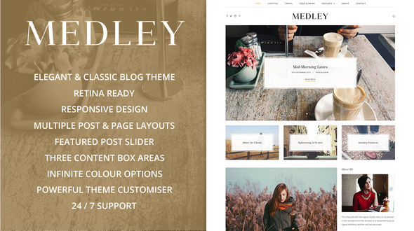 Medley by Sculpture Qode is a great new WordPress theme which features Retina display support, support for RTL languages, fully responsive layouts, search engine optimization, clean design, support for photo galleries, is great for your personal site, blogging related layouts and optimizations, a grid layout and minimal design.