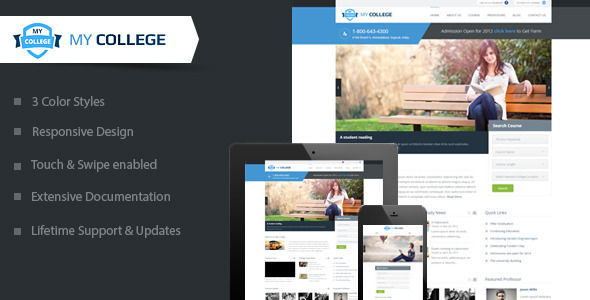 My College by SkatDesign is a WordPress theme for colleges and universities which features fully responsive layouts, search engine optimization, clean design and has a portfolio layout option.