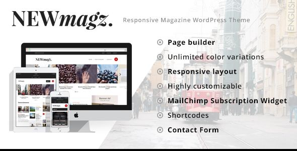 NewMagz by ThemeWarriors is a news magazine WordPress theme which features support for RTL languages, fully responsive layouts, Revolution Slider, clean design, magazine style layouts and is great for your personal site.