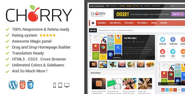News Cherry by Bdaia is a news magazine WordPress theme which features Retina display support, support for RTL languages, Mega Menu, fully responsive layouts, search engine optimization, Google Fonts support, Revolution Slider, WooCommerce integration, clean design, magazine style layouts and blogging related layouts and optimizations.