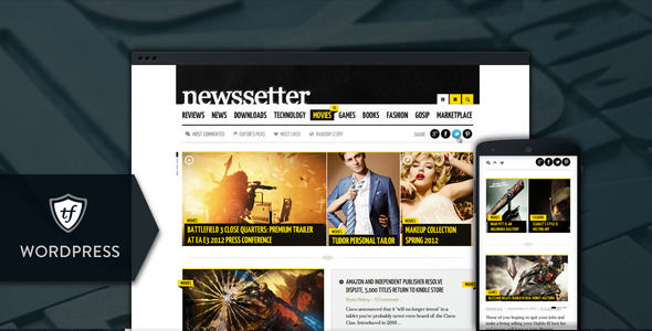 NewsSetter by ThemeFuse is a news magazine WordPress theme which features Retina display support, Mega Menu, fully responsive layouts, search engine optimization, magazine style layouts and corporate style visuals.