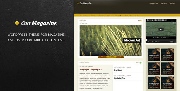 Our Magazine by Kailoon is a news magazine WordPress theme which features search engine optimization, clean design, magazine style layouts, is great for your personal site and corporate style visuals.