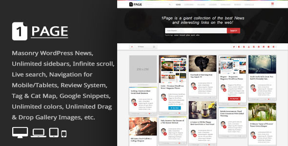 Page by An-Themes is a news magazine WordPress theme which features one page layouts, fully responsive layouts, search engine optimization, clean design, support for photo galleries, magazine style layouts, is great for your personal site, masonry post layouts and a grid layout.