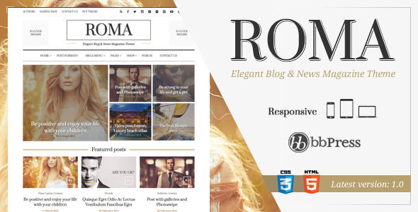 ROMA by Thunderthemes is a news magazine WordPress theme which features Retina display support, support for RTL languages, Mega Menu, fully responsive layouts, search engine optimization, Google Fonts support, WooCommerce integration, Bootstrap framework utilization, magazine style layouts and masonry post layouts.