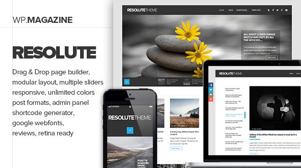 Resolute by Vergo is a news magazine WordPress theme which features Retina display support, fully responsive layouts, search engine optimization, Google Fonts support, Revolution Slider, WooCommerce integration, clean design, magazine style layouts and minimal design.