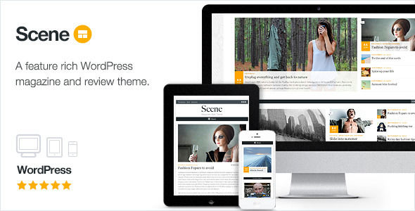 Scene by ThemeCanon is a news magazine WordPress theme which features Retina display support, one page layouts, fully responsive layouts, search engine optimization, Google Fonts support, Revolution Slider, WooCommerce integration, clean design, magazine style layouts and masonry post layouts.