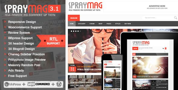 Spraymag by Wpsmart is a news magazine WordPress theme which features support for RTL languages, fully responsive layouts, search engine optimization, WooCommerce integration, clean design, magazine style layouts, is great for your personal site, masonry post layouts and a grid layout.