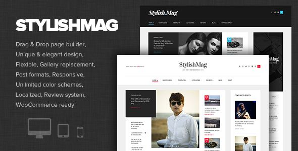 StylishMag by Dannci is a news magazine WordPress theme which features support for RTL languages, fully responsive layouts, search engine optimization, Google Fonts support, Revolution Slider, WooCommerce integration, magazine style layouts, is great for your personal site and blogging related layouts and optimizations.