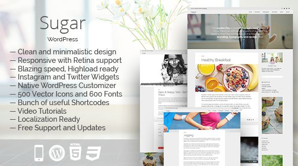 Sugar by MajorThemes is a great new WordPress theme which features support for RTL languages, fully responsive layouts, search engine optimization, Google Fonts support, clean design, magazine style layouts, blogging related layouts and optimizations and minimal design.