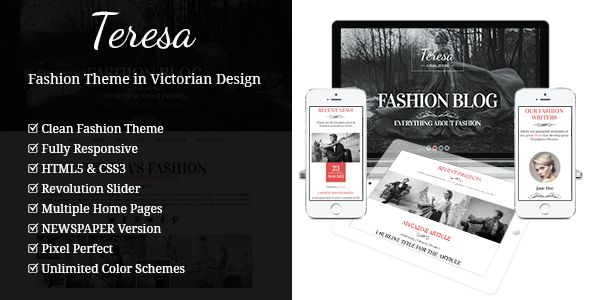 Teresa by Gljivec is a news magazine WordPress theme which features one page layouts, fully responsive layouts, search engine optimization, Google Fonts support, Revolution Slider, WooCommerce integration, clean design, can be used for your portfolio, magazine style layouts, is great for your personal site and minimal design.