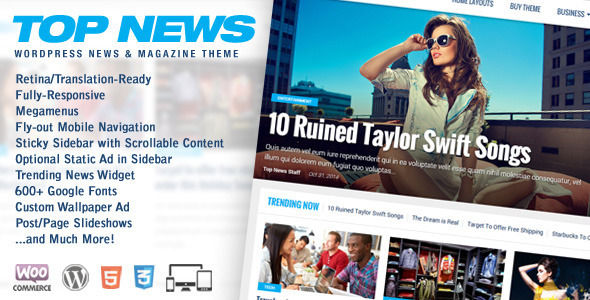 Top News by MVPThemes is a news magazine WordPress theme which features Retina display support, support for RTL languages, Mega Menu, fully responsive layouts, search engine optimization, WooCommerce integration, clean design, magazine style layouts and a grid layout.