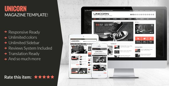 Unicorn by WPGalaxy is a news magazine WordPress theme which features fully responsive layouts, Google Fonts support, clean design and magazine style layouts.