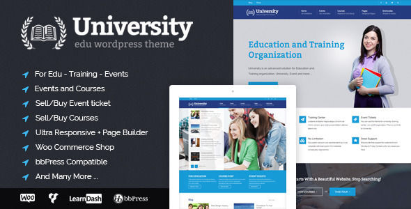 University by Cactusthemes is a educational WordPress theme which features Retina display support, parallax elements, support for RTL languages, Mega Menu, fully responsive layouts, search engine optimization, Google Fonts support, Revolution Slider, WooCommerce integration, clean design, Bootstrap framework utilization, can be used for your portfolio, corporate style visuals and a grid layout.