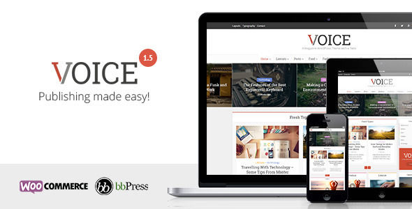 Voice by Meks is a news magazine WordPress theme which features Retina display support, support for RTL languages, Mega Menu, fully responsive layouts, search engine optimization, WooCommerce integration, clean design, Bootstrap framework utilization, magazine style layouts, is great for your personal site and a grid layout.