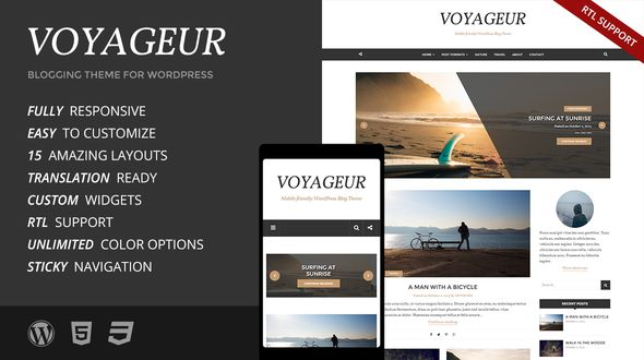 Voyageur by Prthemes is a great new WordPress theme which features support for RTL languages, fully responsive layouts and is great for your personal site.