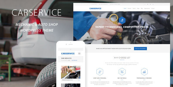 Car Service by QuanticaLabs is a WordPress theme for automotive websites which features Retina display support, parallax elements, support for RTL languages, fully responsive layouts, search engine optimization, Google Fonts support, Revolution Slider, WooCommerce integration and clean design.