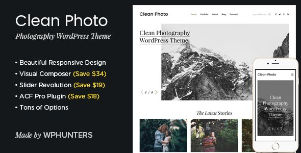 Clean Photo by Wphunters (WordPress theme)
