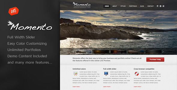 Momento by ProgressionStudios (WordPress theme)
