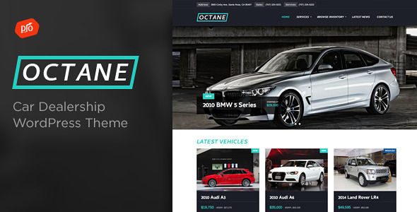 Octane by ProgressionStudios is a WordPress theme for automotive websites which features Retina display support, Mega Menu, fully responsive layouts, search engine optimization and Revolution Slider.