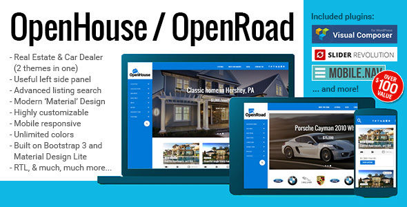 OpenHouse Real Estate And OpenRoad Car Dealer Responsive Material WordPress Theme by BuchmannDesign is a WordPress theme for automotive websites which features support for RTL languages, fully responsive layouts, search engine optimization, Google Fonts support, Revolution Slider, clean design, Bootstrap framework utilization and minimal design.
