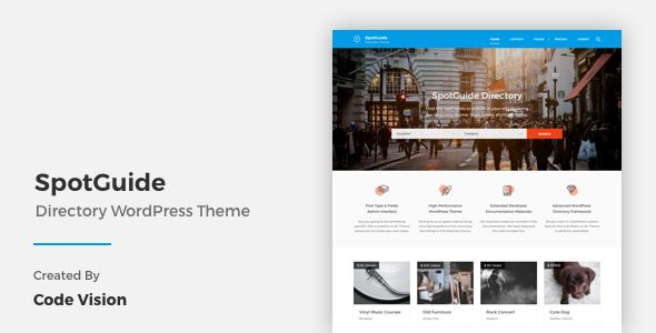 SpotGuide by CodeVisionThemes is a WordPress theme for automotive websites which features Retina display support, support for RTL languages, fully responsive layouts, search engine optimization, Bootstrap framework utilization and flat design aesthetics.