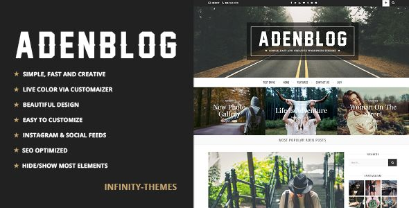 Aden by Infinity-Themes (video blog WordPress theme)