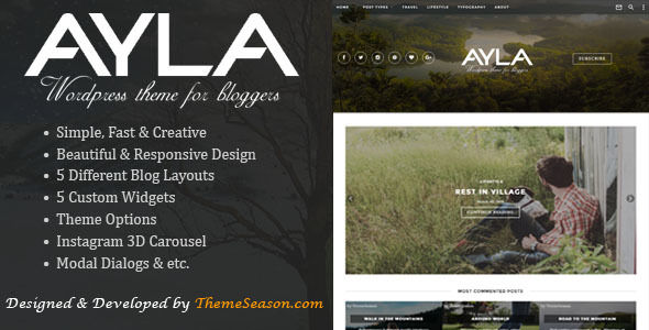 Ayla by Theme_season (video blog WordPress theme)