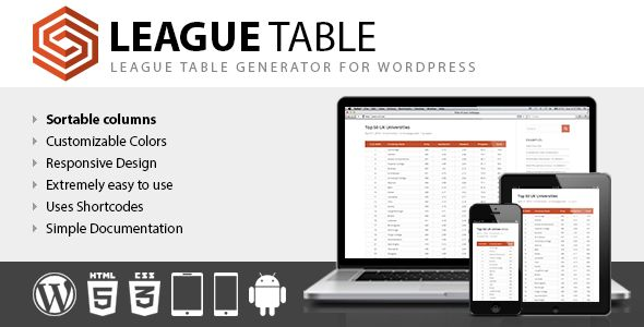 League Table by DAEXT (pricing table plugin)