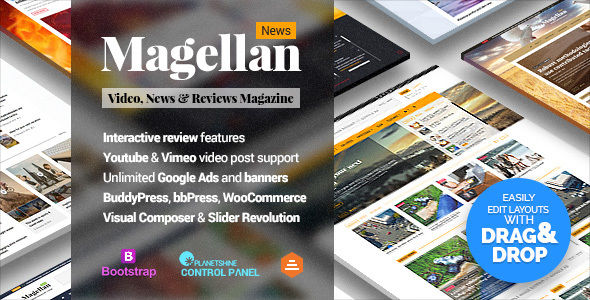 Magellan by Planetshine (video blog WordPress theme)