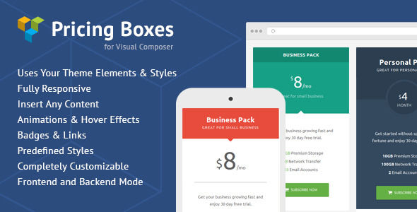 Pricing Boxes For Visual Composer by MNKY (pricing table plugin)