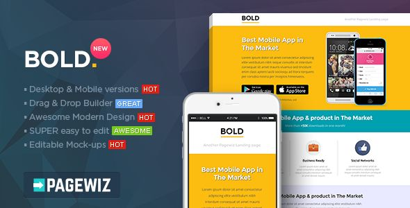 BOLD by PixFort (landing page template for PageWiz)