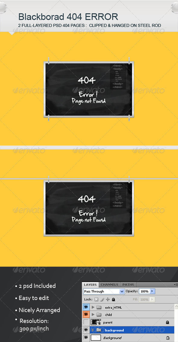 Black Board Error Pages by AddtoFavorites (layered 404 page template)