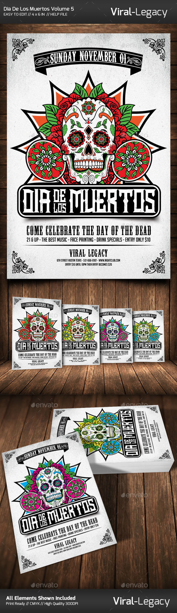 Dia De Los Muertos Volume by Viral-Legacy (Halloween party flyer)