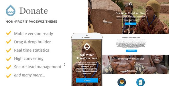 Donate by Slidehack (landing page template for PageWiz)
