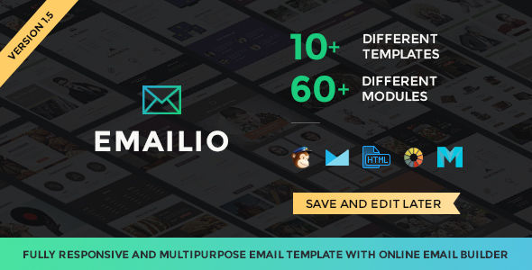 Emailio Responsive Multi-Purpose Email Template With Online Email Builder by Themezaa (email templates for use with Mailchimp)