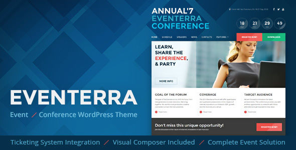 Eventerra by Mopc76 (event & conference WordPress theme)