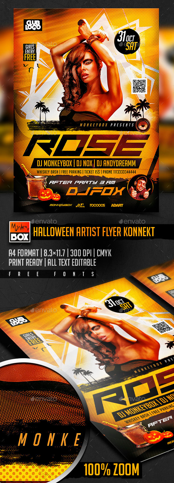Halloween Artist Flyer Konnekt by MonkeyBOX (Halloween party flyer)