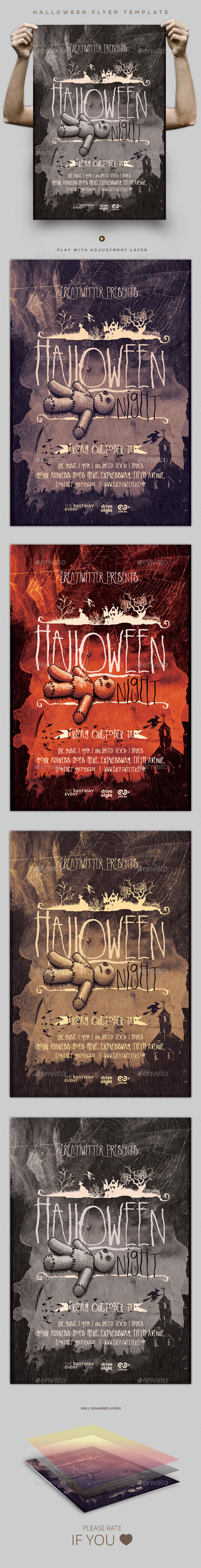 Halloween Flyer Template by Creatwitter (Halloween party flyer)
