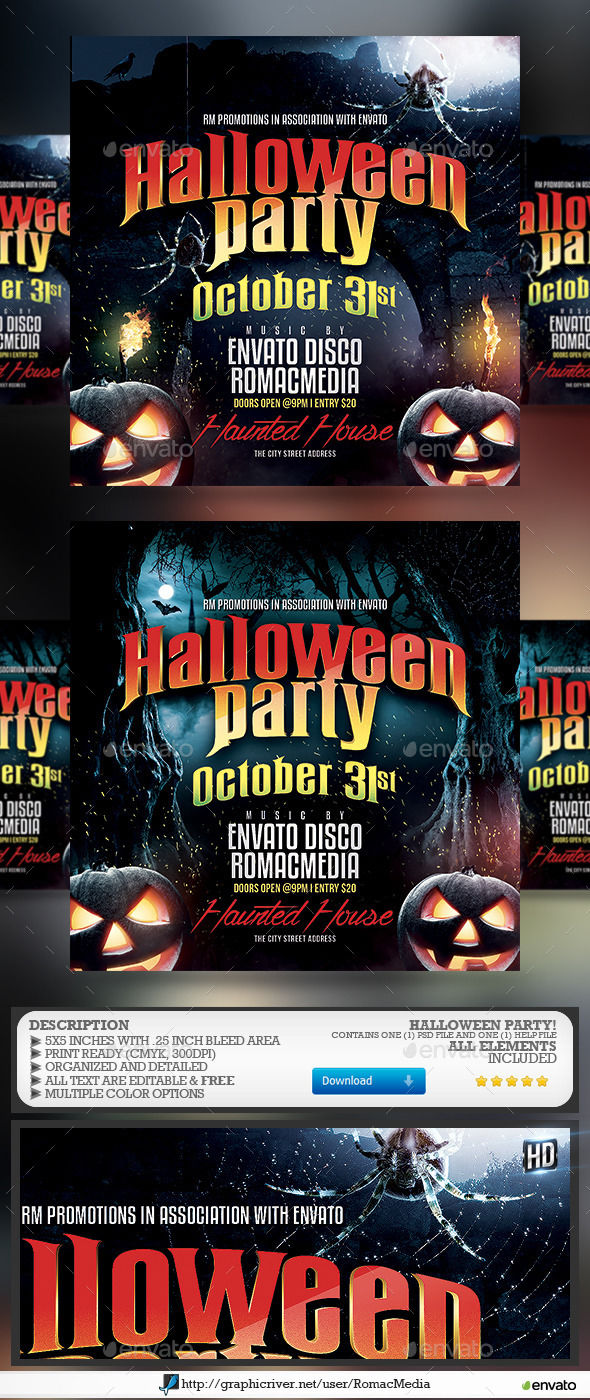 Halloween Party by RomacMedia (Halloween party flyer)