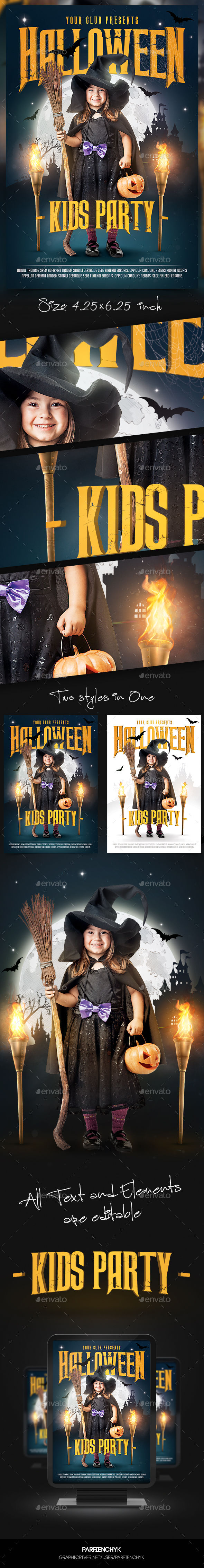Kids Halloween Flyer Template by Parfienchyk (Halloween party flyer)