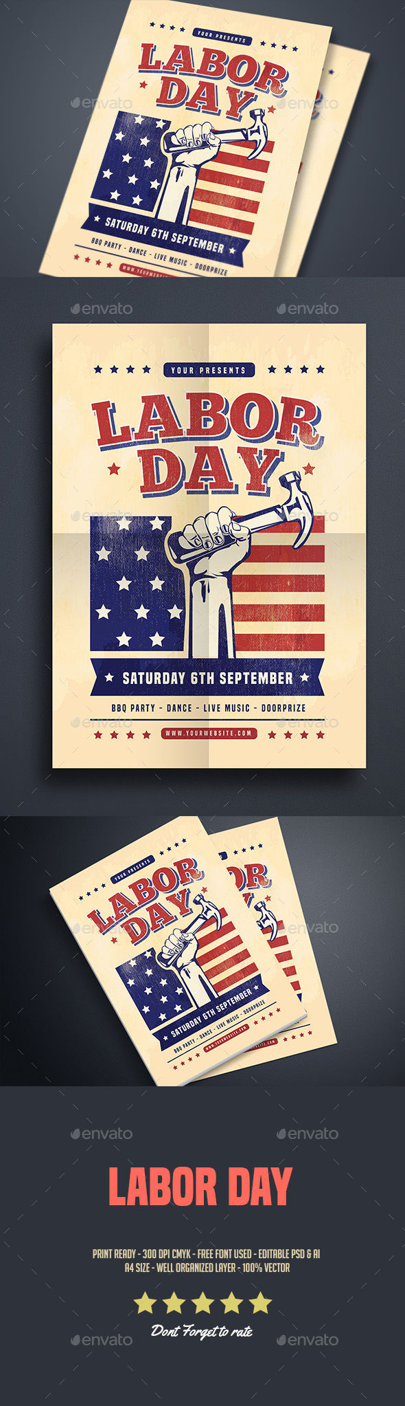 Labor Day Celebration Flyer by Guuver (Labor Day party flyer)