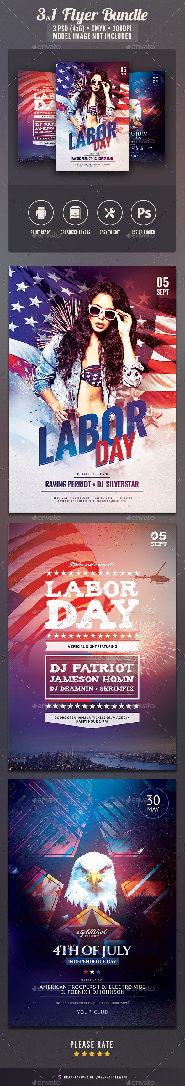 Labor Day Flyer Bundle by StyleWish (Labor Day party flyer)