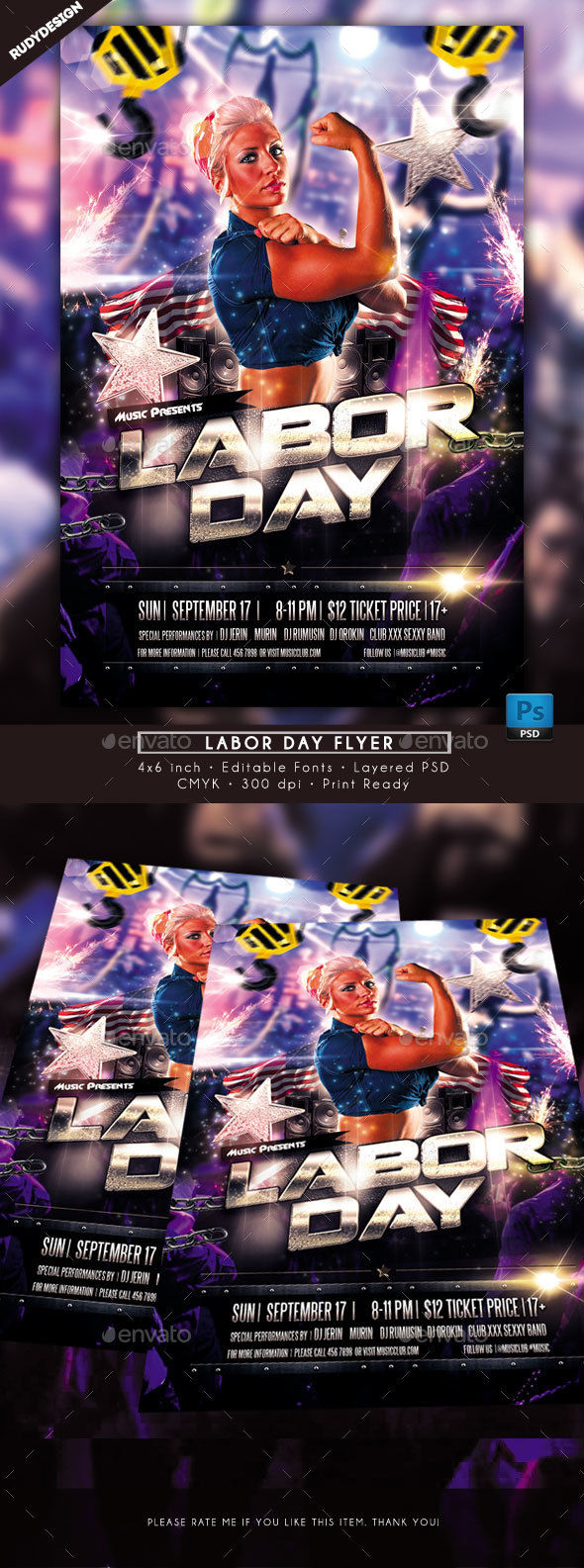 Labor Day Flyer by Rudydesign (Labor Day party flyer)