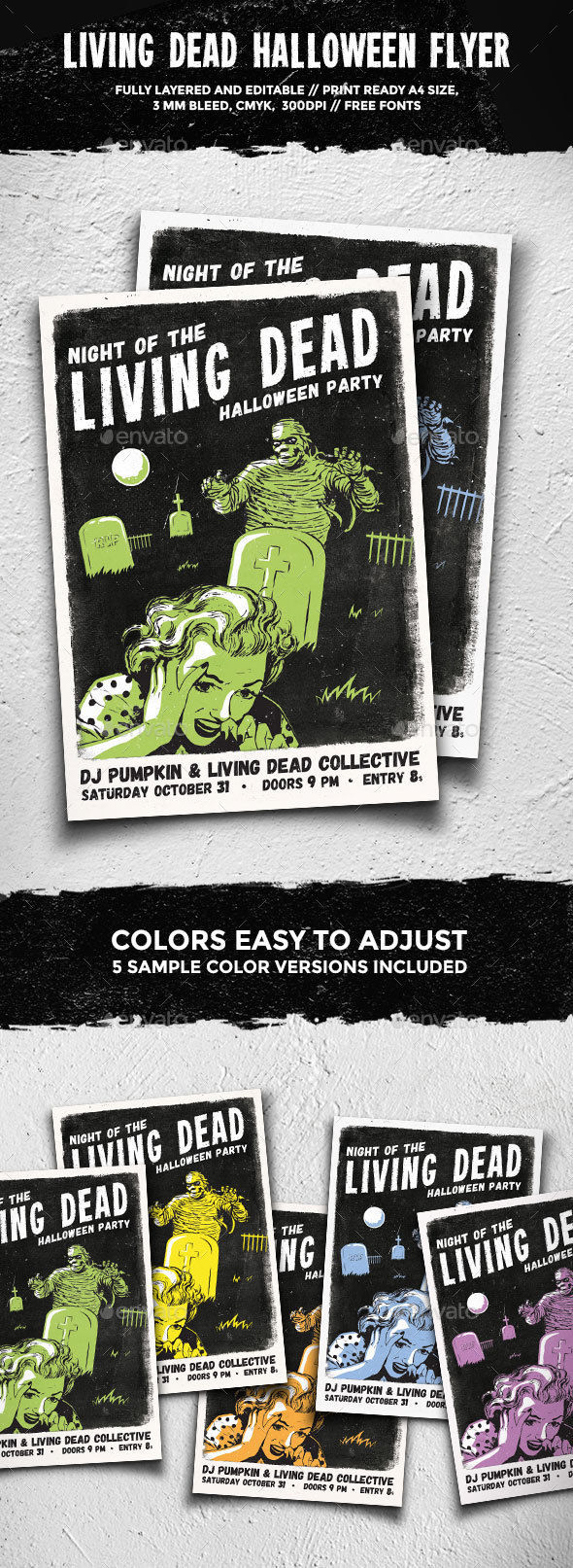 Living Dead Halloween Flyer by GraphicGoods (Halloween party flyer)