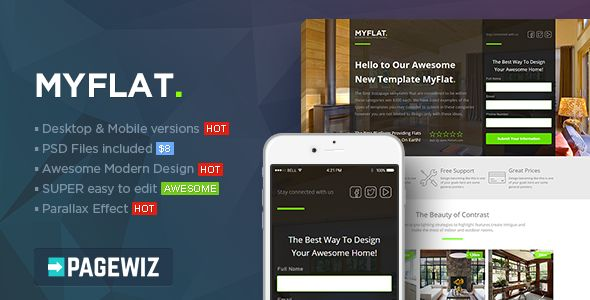 MYFLAT by PixFort (landing page template for PageWiz)