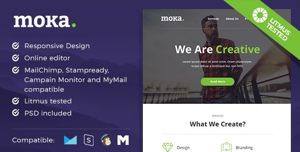 Moka by MaestoMail (email templates for use with Mailchimp)