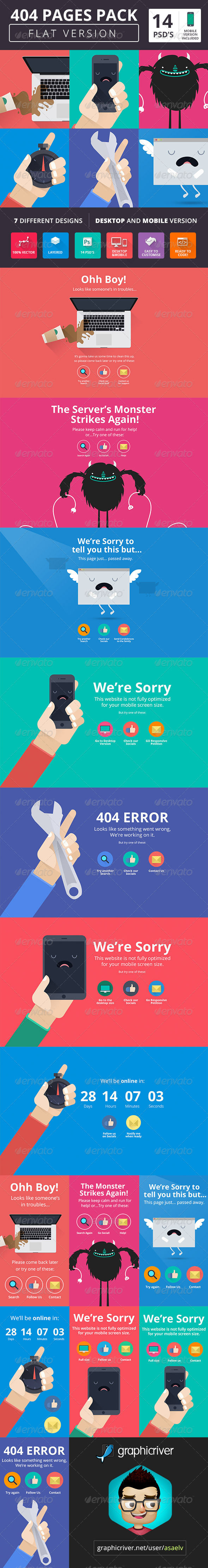 Pack Flat Style by AddtoFavorites (layered 404 page template)