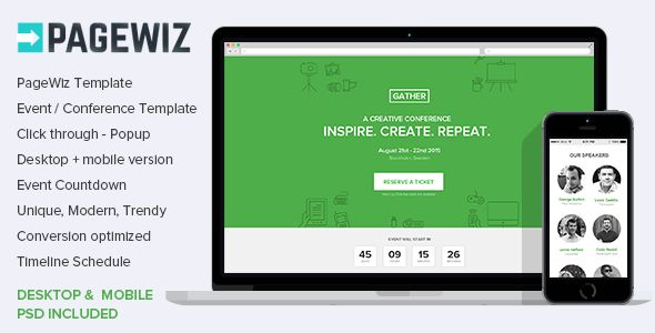 Pagewiz Event Conference Meetup Template by Surjithctly (landing page template for PageWiz)